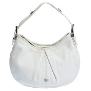 Burberry White Leather Small Malika Hobo