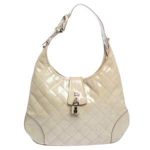 Burberry Beige Quilted Patent Leather Brooke Hobo