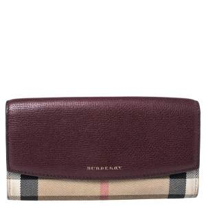 Burberry Burgundy House Check Canvas and Leather Flap Continental Wallet