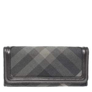 Burberry Metallic Grey Smoke Check Canvas and Leather Flap Continental Wallet