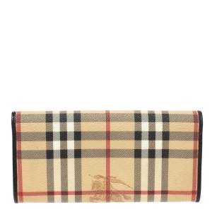 Burberry Beige/Brown Haymarket Check PVC and Leather Continental Wallet