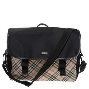 Burberry Black/Beige House Check Nylon Flap Messenger Bag