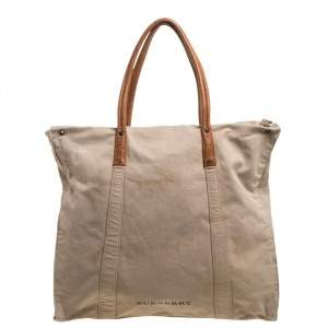 Burberry Beige Canvas and Leather Zip Weekender Tote
