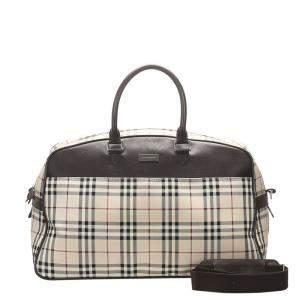 Burberry Beige/Brown House Check Canvas Duffel Bag