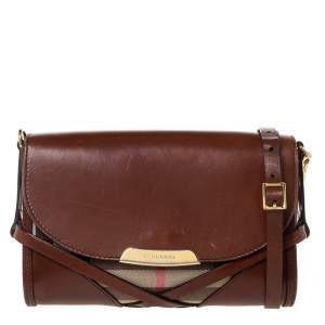 Burberry Brown/Beige Nova Check Canvas and Leather Abbott Shoulder Bag