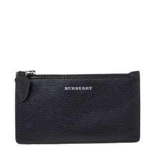 Burberry Black/Green Leather Alwyn Zip Card Holder