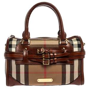 Burberry Beige/Brown House Check Fabric and Leather Bridle Chester Bowling Bag