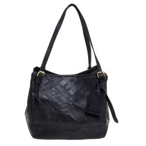 Burberry Black Embossed Check Leather Open Tote