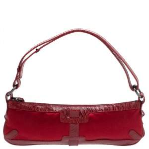 Burberry Red Satin and Lizard Pochette Bag