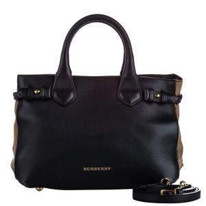 Burberry Black Leather House Check Banner Medium Bag
