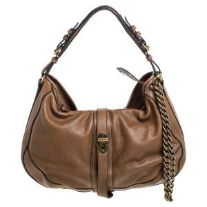 Burberry Brown Leather Weatherby Hobo
