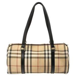Burberry Beige/Black House Check Coated Canvas Duffel Bag