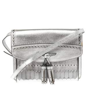 Burberry Silver Leather Macken Broguing Tassel Shoulder Bag