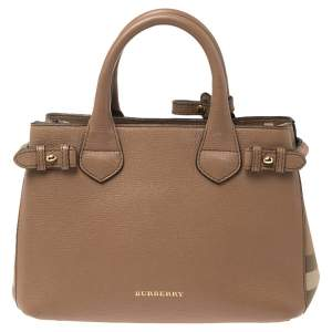 Burberry Beige Leather and House Check Canvas Small Banner Tote