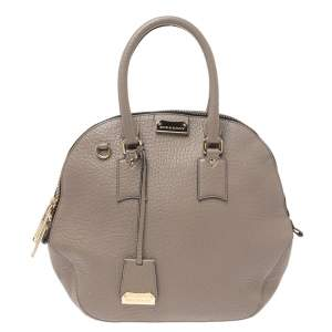 Burberry Taupe Grain Leather Orchard Bowler Bag