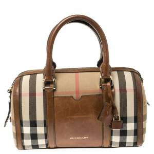 Burberry Brown Nova Check Canvas and Leather Alchester Bowling Bag