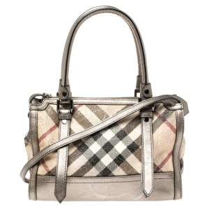 Burberry Beige/Metallic Nova Check Floral Embossed Pvc and Leather Satchel