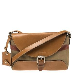 Burberry Beige/Tan House Check Canvas and Leather Gowan Crossbody Bag