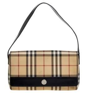 Burberry Beige/Black Nova Check Coated Canvas and Leather Flap Shoulder Bag