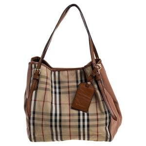 Burberry Brown/Beige House Check Canvas and Leather Small Canterbury Tote