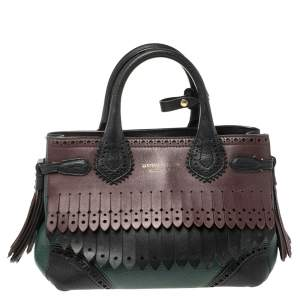 Burberry Multicolor Brogue Leather Banner Fringe Tote