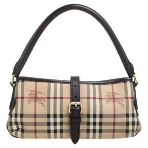 Burberry Beige/Brown Haymarket Check Coated Canvas and Leather Shoulder Bag