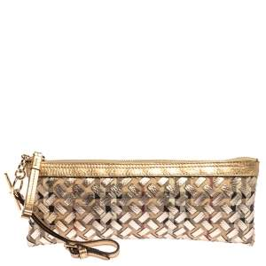 Burberry Beige/Gold Haymarket Check Coated Canvas and Leather Zip Wristlet Clutch