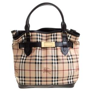 Burberry Dark Brown/Beige Haymarket Check Coated Canvas and Leather Medium Golderton Tote
