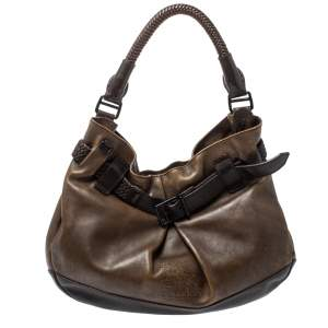 Burberry Dark Brown Logo Embossed Leather Buckle Detail Hobo