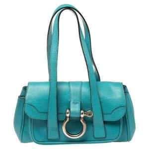Burberry Blue Leather Flap Shoulder Bag