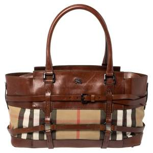 Burberry Brown/Beige Nova Check Canvas and Leather Belted Tote