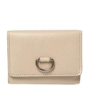 Burberry Beige Leather Leabrook Trifold Wallet