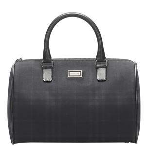 Burberry Black Coated Canvas   Boston Bags