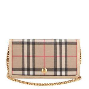 Burberry Haymarket Check E-Canvas Wallet on Chain Bag