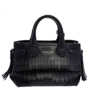 Burberry Black Brogue Leather Banner Fringe Tote