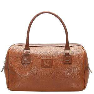 Burberry Brown Leather Boston Bag