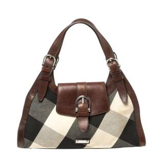 Burberry Brown Leather and Mega Check Canvas Buckle Flap Shoulder Bag