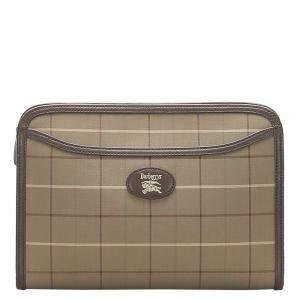Burberry Brown Canvas Clutch Bag