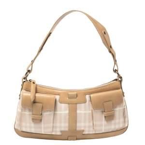 Burberry Pink/Beige Haymarket Check Fabric and Leather Double Pocket Shoulder Bag