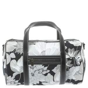 Burberry Black/White Floral Print Canvas Boston Bag