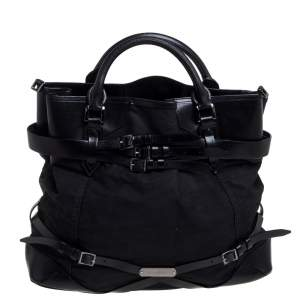 Burberry Black Fabric and Leather Large Bridle Lynher Tote