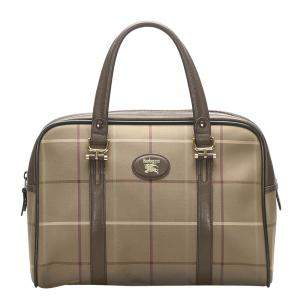 Burberry Brown Plaid Canvas Vintage Boston Bag