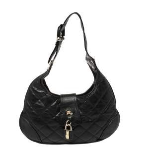 Burberry Black Quilted Leather Brooke Hobo