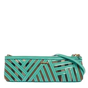 Burberry Green/Beige Canvas and Patent Leather Prorsum Parmoor Clutch