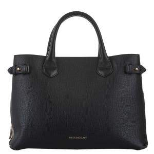 Burberry Black Leather/Check Canvas  Banner Tote Bag