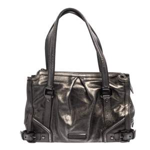Burberry Metallic Dark Grey Leather Satchel
