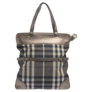 Burberry Metallic Beat Check Canvas and Leather Tote