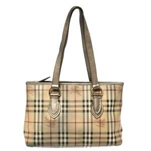 Burberry Beige/Metallic Haymarket Check Coated Canvas and Leather Regent Tote