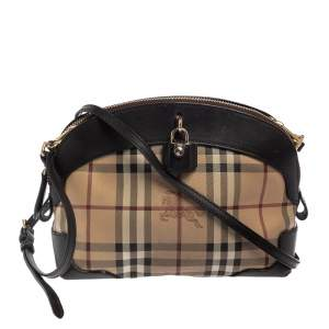 Burberry Dark Brown/Beige Haymarket Coated Canvas and Leather Small Primrose Crossbody Bag