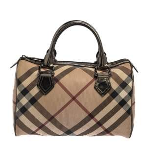 Burberry Beige/Metallic Nova Check PVC Chester Boston Bag